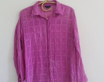 indian cotton gauze blouse // vintage boho boyfriend shirt