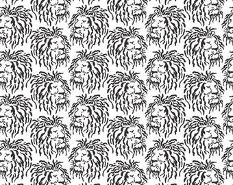 Lion White Black Domino Kathy Hall Andover Fabric 1 yard