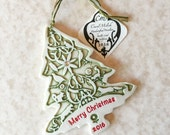 Tree Ornament-Christmas Ornament-Porcelain Tree-Handmade Ornament-Merry Christmas Tree-Animal Ornament-Ready to Ship-In Stock-Crystals