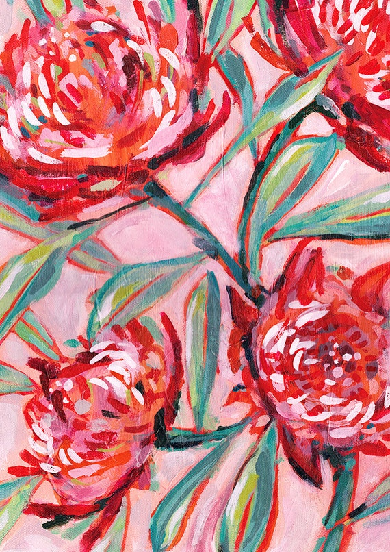 Waratah Painting Archival Art Print Illustration