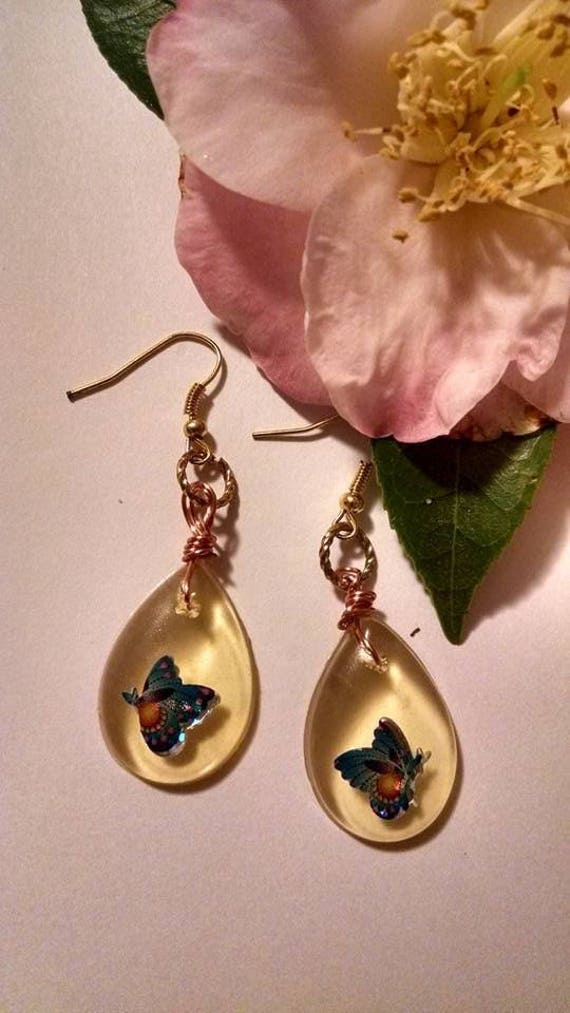 Blue Butterfly Resin Dangle Earrings Gold Fish Hook Style Wire Wrapped Tear Drop Pear Shape Summer Wedding Shower Spring Easter Mom Sister