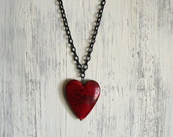 Large Red Heart Pendant, Long Black and Red Necklace, Single Heart, Long Necklace, Boho Jewelry, Layering Necklace, Bohemian Style