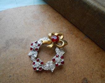 pot metal and brass rhinestone red and clear christmas wreath brooch holiday wear rhinestone enamel