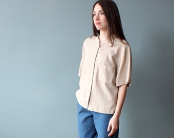 oatmeal linen top | button up box top | 1990s s-xl