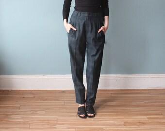 Vintage 80s plaid high waist trousers | green plaid pants | small