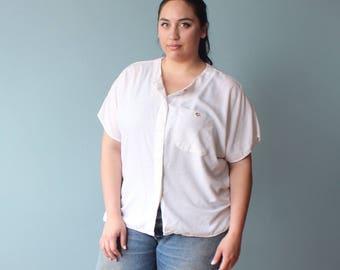 plus size blouse | white short sleeve pocket shirt | 1990s XXL