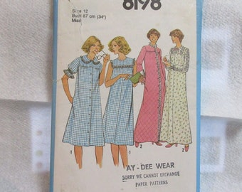"Vintage Sewing Pattern BABY DOLL Robe, Nightgown Pajamas Size 12 Bust 34"" 1970s 70s"
