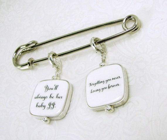 Two Sterling Framed Photo Charms on a Boutonniere / Corsage Pin - FBPP3Flx2