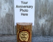 Anniversary Photo Holder of Willow Wood Personalized with Your Names and Date