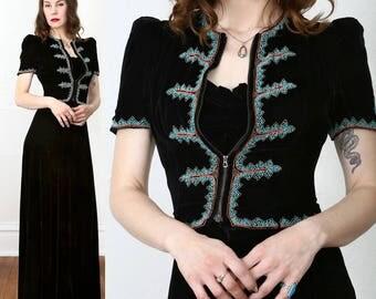 SALE 1940s Beaded Velvet Dress & Jacket