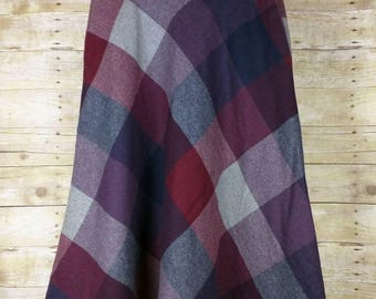 Vintage Gray Purple Magenta Pink  Blue Plaid Midi Skirt L 15/16