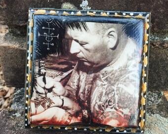 Old School Tattooist | FOLK FILTH collage art plaque | tattoos vintage photo altered art tattoo artist traditional folk art | MADE byLB