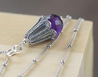 Valentine's Day gift Aquarius Necklace February birthstone necklace Pisces Necklace Purple necklace gemstone necklace  gifts for her