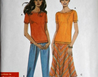 Simplicity 9674 Sewing Pattern, Misses' Skirt Capri Pants and Knit Top, Size XS-S-M-L-XL, Uncut FF, Easy to Sew