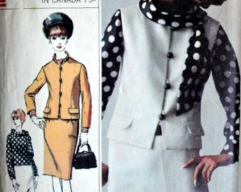 Vintage 60's Simplicity 6313 Designer Fashion Sewing Pattern, Misses Suit, Overblouse  & Scarf, Size 12, 32 Bust, 1960's Mad Med Mod Fashion