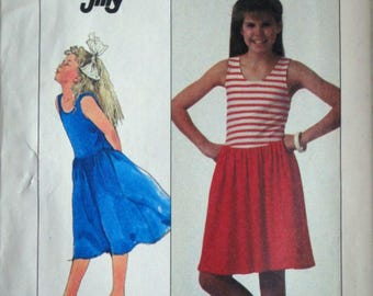 Vintage 80's Simplicity 8137 Jiffy Sewing Pattern, Girls Pullover Dress in Two Lengths, T-Shirt Dress, Size 8-10-12, Uncut FF, 1980's Summer