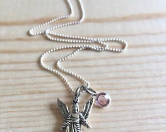 Sterling Silver & Swarovski Crystal Archangel Uriel Necklace