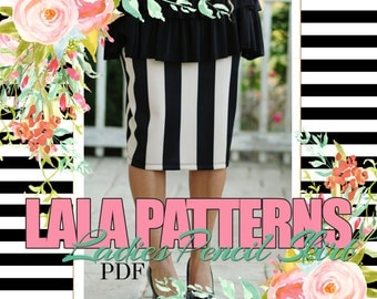 LALA Ladies Pencil Skirt PDF Sewing Pattern Digital Modest