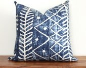African Mudcloth Print Pillow Cover in Navy