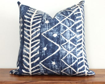 African Mudcloth Print Pillow Cover in Lapis Blue