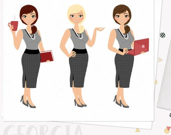 Woman business character clipart,  girl boss clipart set with blonde, brunette and auburn hair (Georgia  L105)