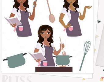 Cooking woman character clipart, kitchen cook book, girl home cook, chef, stove top, digital clipart african american dark skin (Bliss L182)