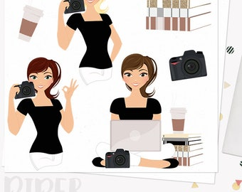 Photographer girl character clipart, photography woman clipart set with blonde, brunette and auburn hair (Piper L195)