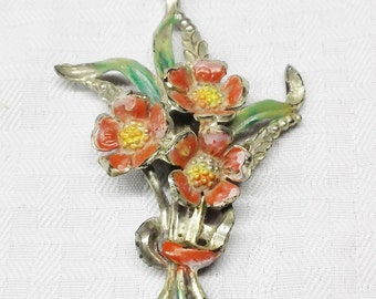 30s 40s Vintage Large Flower Brooch with Red and Green Accents