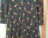 Vintage handmade 1970s short dress - misses 10-12 -  long sleeve - homemade black mini-dress