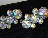 Vintage 1950s Rhinestone Scatter Pins Signed JC 50s Aurora Borealis Brooch Pins Silver Tone Mid Century Costume Jewelry Faceted Round Stones