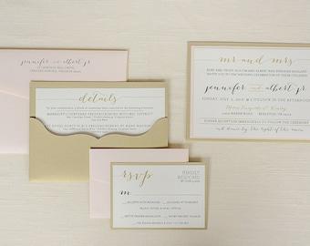 DIY Pocket Wedding Invitations, Pocket Envelopes, Unique Wedding Invitations, Blush and Gold Wedding Invitations   Jennifer + Albert