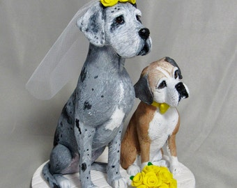 Custom Made Clay 2 Dog Wedding Cake Topper Sculpture Bride Groom Boxer Great Dane Cat Animal Pet