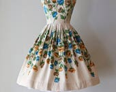 Vintage 1950s Poppy Print Summer Dress by Stacy Ames ~ Vintage 50s Border Print Sundress With Poppies and Full Skirt
