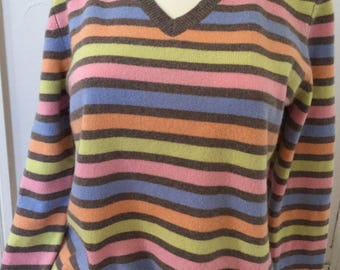 Vintage Cashmere Sweater Striped V Neck Pullover Sweater Size M Medium Green Pink Blue Brown Orange Cashmere Sweater Stripe Talbots Cashmere