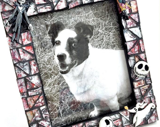 Nightmare Before Christmas Frame, Mosaic Jack Skellington Frame, Tim Burton Frame, Red Black Mosaic Frame, Handmade Mosaic Skellington Frame