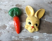 Vintage bunny rabbit  and carrot chalkware chalk plaster head face plaques wall hanging