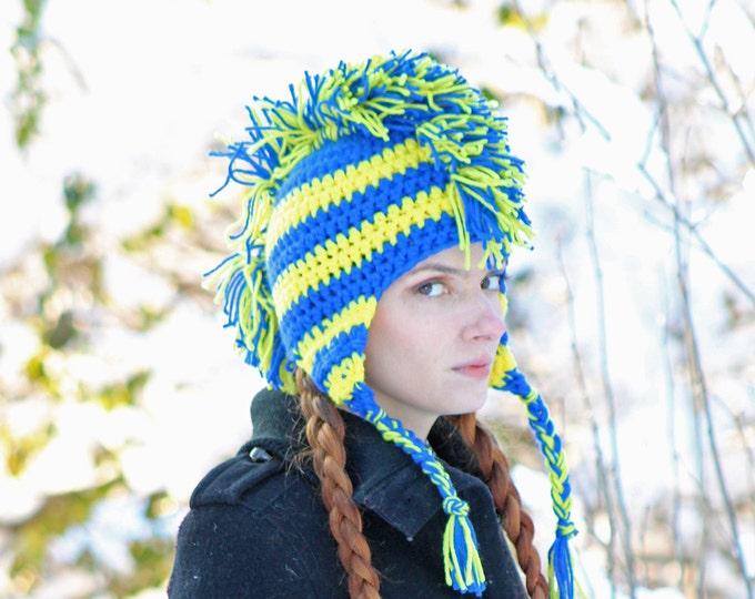 Blue and Yellow Stripe Mohawk HatWarm Winter Accessory Earflap style for Men, Women Children or Teens Gift Idea