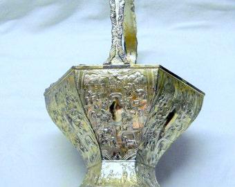 Antique Golf Trophy Cup Vase, Hollywood Trophies, Bridal Basket, Vintage OOAK Old Trophy Bowl, Rare Silver Plate Trophy
