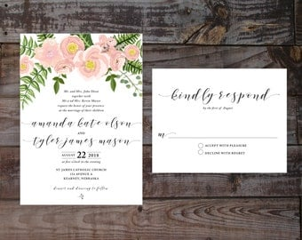 Vintage Invitations, invitation templates, Floral Wedding Invitations, Vintage Wedding Invitations, DIY Wedding Invitations, Watercolor