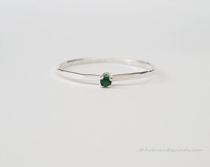 Emerald Birthstone Ring May Stackable Ring