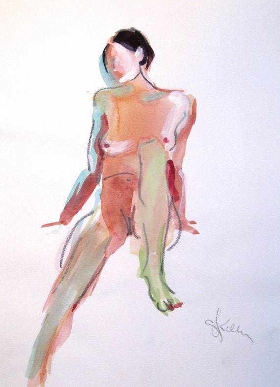 Nude painting- Original watercolor painting of Nude #1372 by Gretchen Kelly