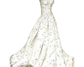 Wedding Dress Sketch Bride Gift Ideas From Maid Of Honor