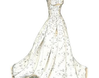 Wedding Dress Sketch, bride gift ideas, bride gift from maid of honor, bride gift from bridesmaid, bride gift from groom, bridal shower gift