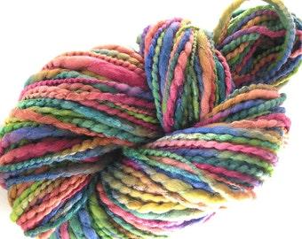 Handspun Yarn Hand Dyed Yarn Soft and Shiny Merino Wool Silk Yarn 146 yards Super Bulky Art Yarn Unique Handmade Yarn DIY Yarn - Highlands