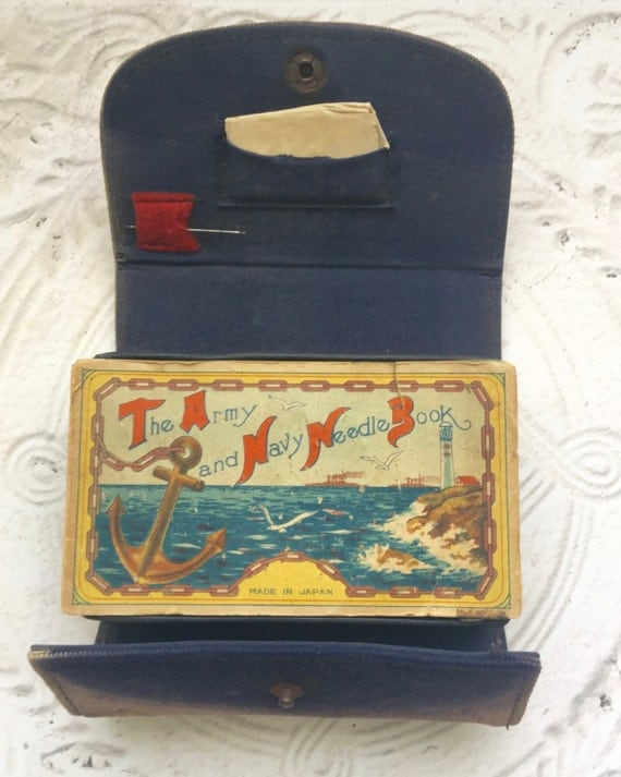 Vintage Military Sewing Kit Army Navy Needle Book Military Collectible Militaria Memorabilia Vintage Anchor Buttons
