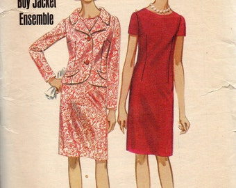 Butterick 4243 1960s Half Size Oval Neckline Dress and Jacket Pattern Boy Jacket Ensemble Womens Vintage Sewing Pattern Size 18 1/2 Bust 39