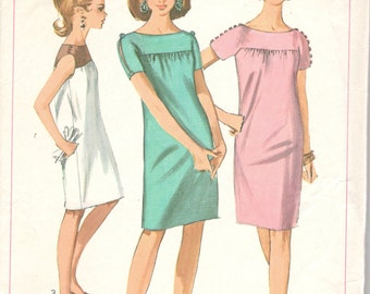 Simplicity 7123 1960s Misses Mod DRESS Pattern Gathered Yoke Womens Vintage Sewing Pattern Size 10 Bust 31 or Size 14 Bust 34