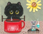 Whimsical Black Cat Mouse Coffee Painting on 4x4 Canvas Creationarts