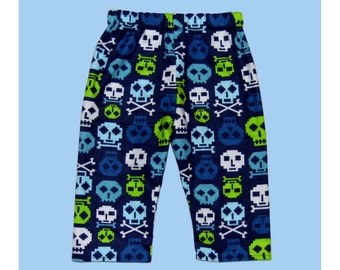 Skull And Crossbones - Punk Rock Baby - Skull Pants - Blue Pants - Boys Pants - Girls Pants - Baby Pants - Neon Green - 3m - 18m