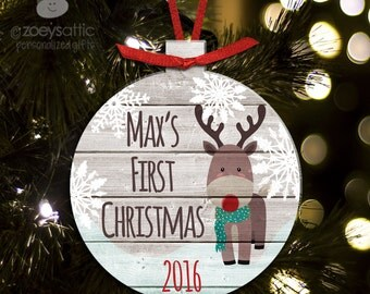 First Christmas deer personalized holiday ornament - great custom new baby Christmas gift BFCDEER
